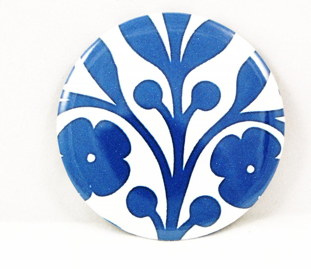 Pocket mirror - Blue and white floral pocket mirror