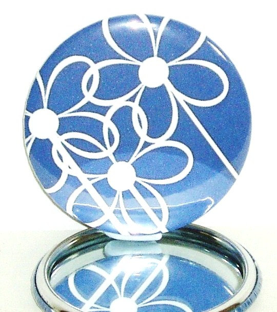 Pocket mirror Blue and White floral pocket mirror