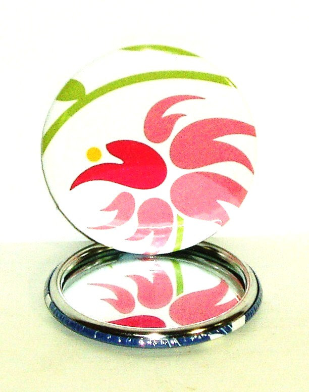 Pocket mirror - Pink and Green floral pocket mirror