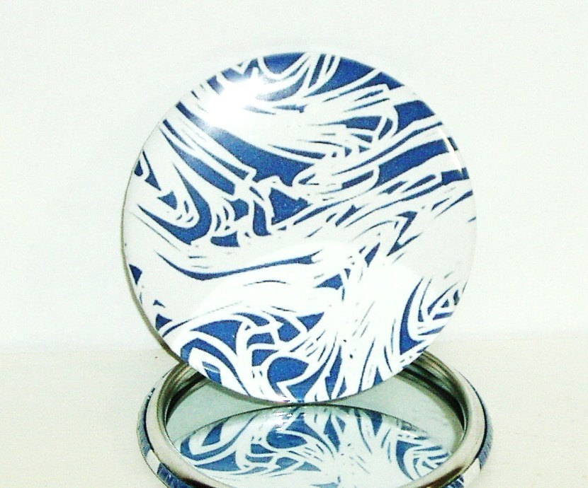 Pocket mirror Blue and White Abstract