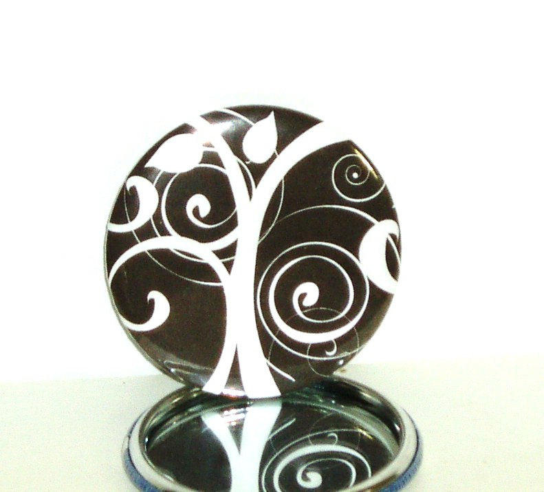 Pocket mirror - Black and White Tree Pocket Mirror