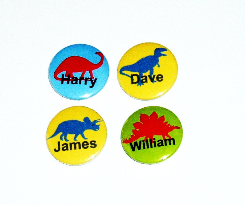 Pinback button badges - Dinosaur name badges - 3 sizes