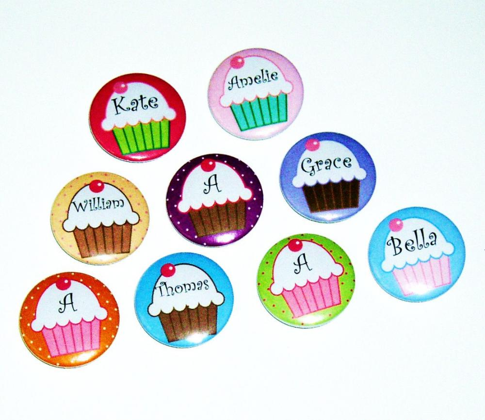 Pinback button badges - Cupcake name badges - 3 sizes