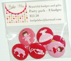 Pinback Button badge party pack of 8 - Ballerinas - party favors