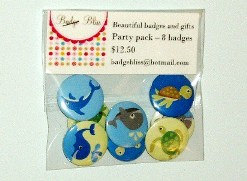 Pinback Button badge party pack of 8 - Sea Life - party favors