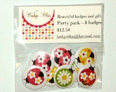 Pinback Button badge party pack of 8 - Ladybugs - party favors