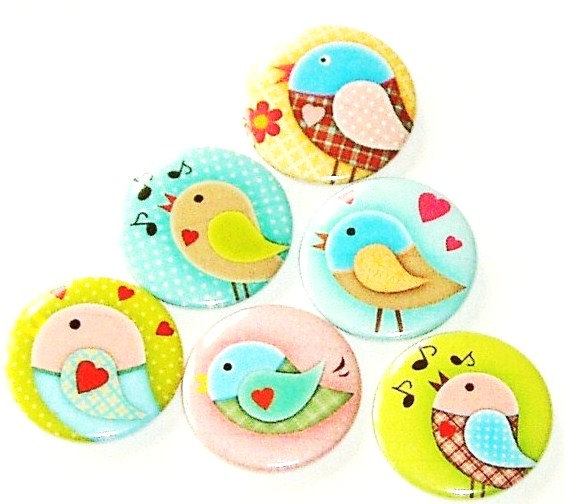 Fridge magnets - Sweet Birds - Set of 6 refrigerator magnets