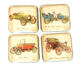 Fridge Magnet set - Vintage Cars - 4 refrigerator magnets (fms4)