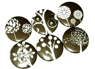 Magnets - Black and white Trees - set of 6 fridge magnets