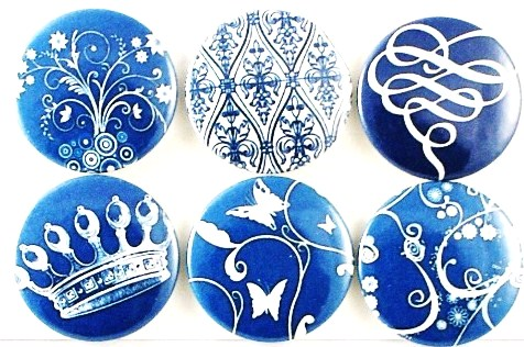 Magnets - Blue floral fridge magnets